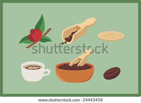 Coffee clip art: A twig of coffee tree with coffee berries, coffee beans in a scoop and in a bowl, a biscuit and a cup of espresso, each element in a separate layer - stock vector