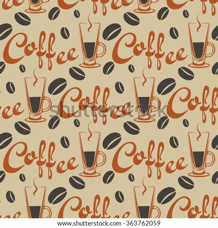 coffee, coffee background, black coffee, coffee art, coffee cafe, coffee icon,  seamless pattern, abstract background, color, vector for your design - stock vector