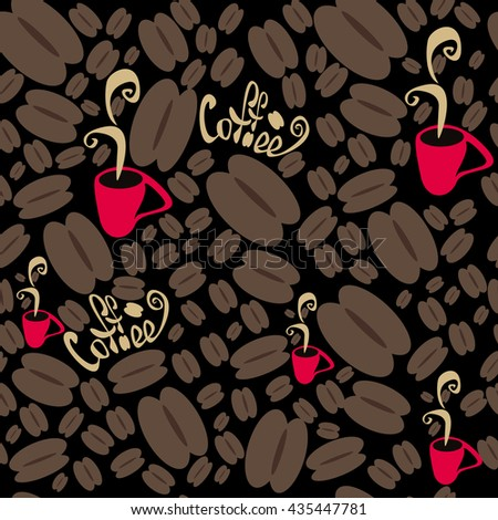 coffee, coffee background, black coffee, coffee art, coffee cafe, coffee icon, seamless pattern, abstract background, dark, vector - stock vector