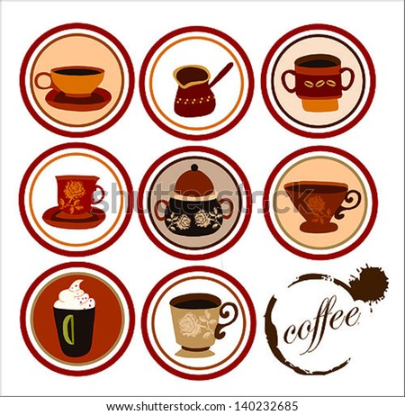 coffee collection - stock vector