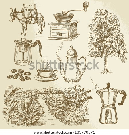 coffee collection - hand drawn vector illustration - stock vector