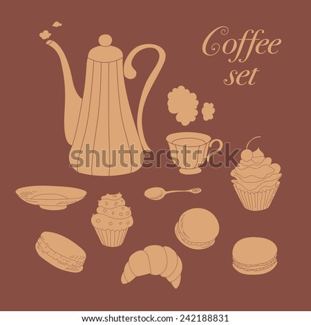 Coffee collection. Set of coffee pot, cup, saucer, spoon, cupcake, macaroons. Vector illustration. - stock vector