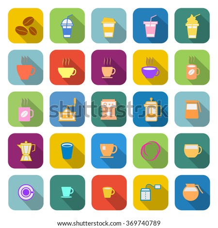 Coffee color icons with long shadow on white background - stock vector