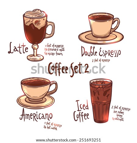 coffee color set of different kinds of coffee on white background with hand drawn typography - stock vector