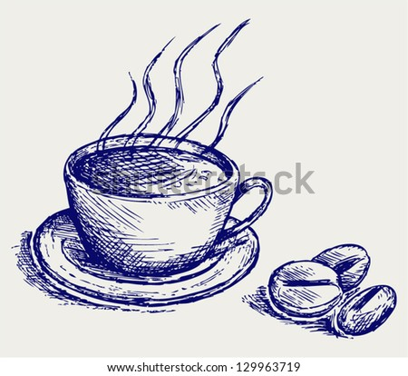Coffee cup and beans. Doodle style - stock vector