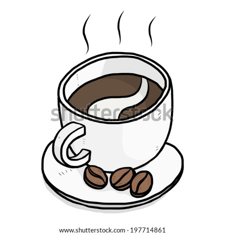 coffee cup and coffee beans / cartoon vector and illustration, hand drawn style, isolated on white background. - stock vector