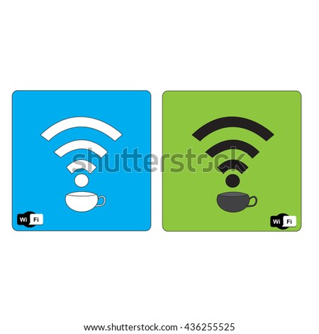 coffee cup and Free wifi  available sign, vector illustration. - stock vector