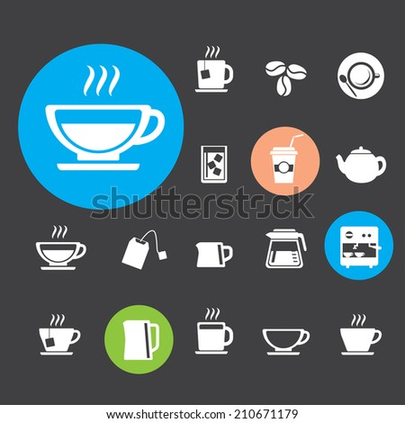 Coffee cup and Tea cup icon set - stock vector