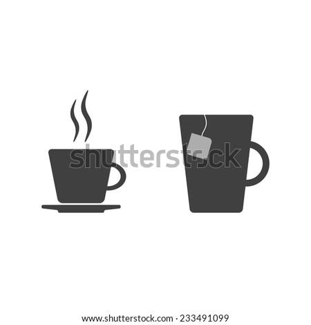 coffee cup and tea mug - stock vector