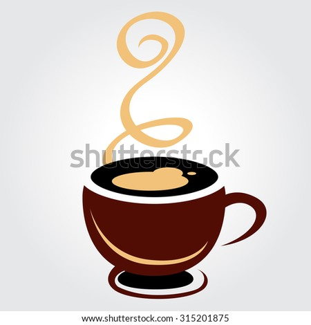 Coffee cup brown on white background, illustration