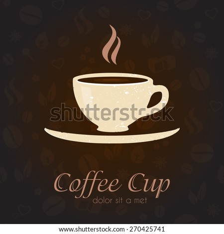 Coffee cup business sign vector template. Coffee pattern background. Product labeling element template, menu decoration, part of corporate identity for cafe, restaurant, shop. Layered editable design - stock vector