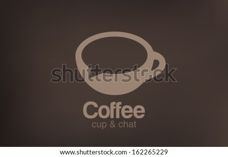Coffee cup chat vector logo design template. Creative design cafe idea. Coffee, Tea or any Hot beverage icon. - stock vector