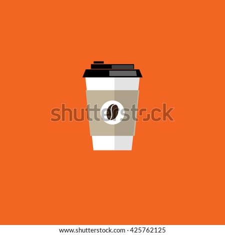 Coffee cup. Coffee cup vector illustration. Coffee cup icon. Coffee cup isolated on background. Paper coffee cup. Coffee cup in flat style. Coffee cup beans. - stock vector