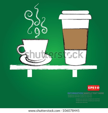 Coffee cup drawing,Vector - stock vector