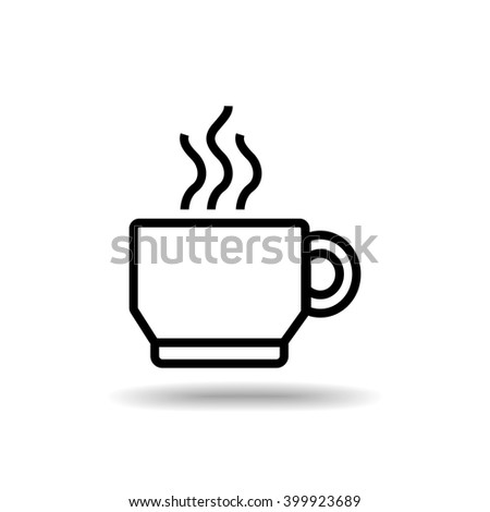 Coffee cup flat icon isolate on white background vector illustration eps 10 - stock vector
