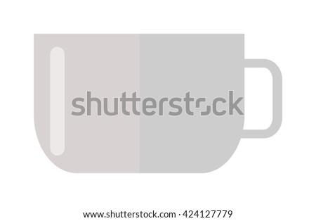Coffee cup front view isolated on white. Cup coffee front view vector and cup hot coffee view. Cup coffee front view hot drink espresso and brown cup coffee cappuccino, black mocha color mug. - stock vector