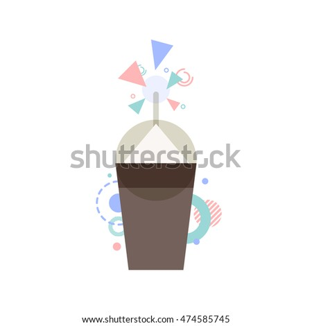 coffee cup geometric minimal style, vector illustration