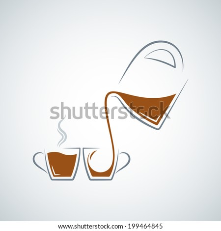 coffee cup glass pot background - stock vector