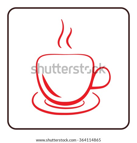 Coffee cup icon. Mug for cappuccino, espresso, mocha, latte, coffee, tee drinks. Symbol of hot beverage. Flat graphic style. Red silhouette isolated on white background in frame. Vector illustration - stock vector