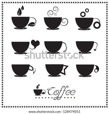 Coffee cup icon set, Tea cup, Vector illustration. - stock vector