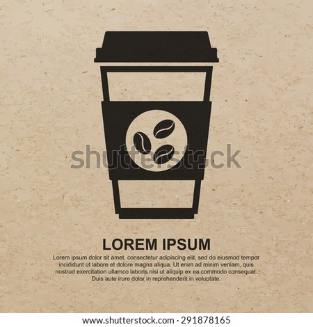 Coffee cup icon with coffee beans logo on brown recycled paper background - Vector - stock vector