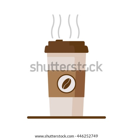 Coffee cup icon with coffee beans on white background. Flat vector illustration - stock vector