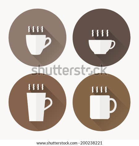 Coffee cup icon with , Vector illustration flat design with long shadow - stock vector