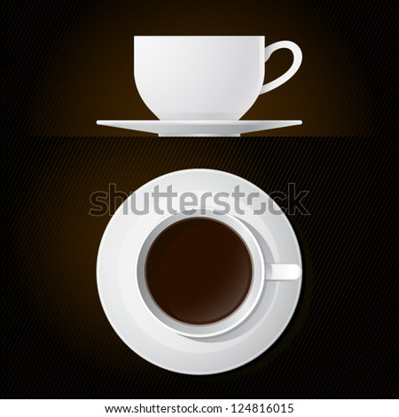 Coffee Cup Icons Top and Side View with Black Background - stock vector