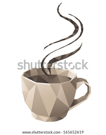 Coffee cup in origami style - stock vector