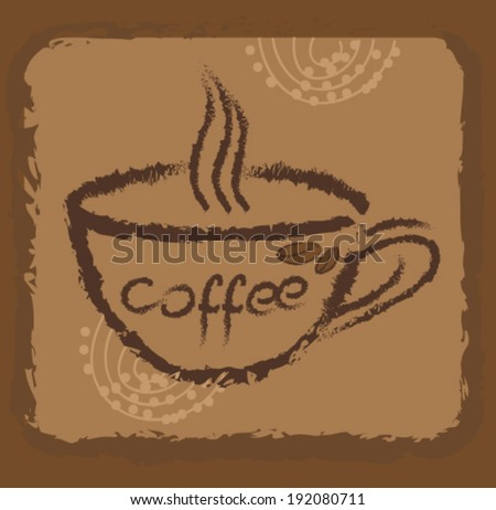 Coffee cup in retro background
