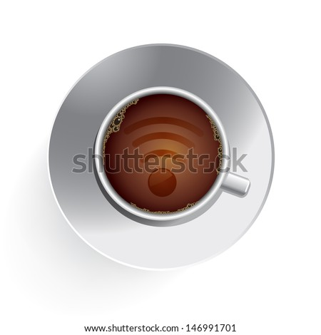 Coffee Cup Internet Wifi - stock vector