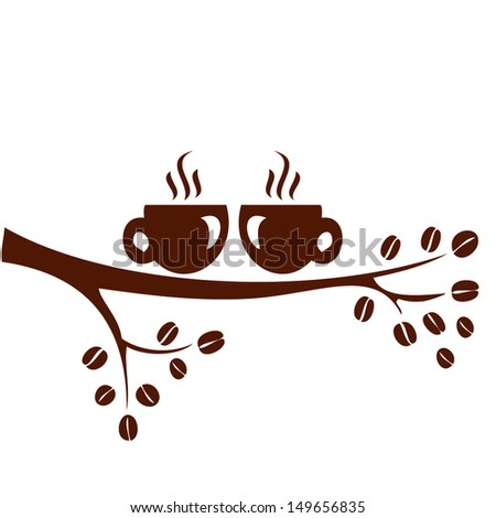 coffee cup of on tree branch - stock vector