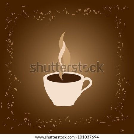 Coffee cup on brown background