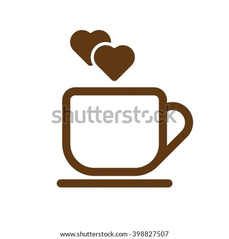 Coffee Cup Outline Icon With Heart Icons
