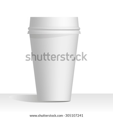 coffee cup realistic mock up template for your design white background editable with shadow - stock vector