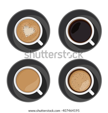 Coffee cup set top view. Americano, latte, espresso, cappuccino, macchiato, mocha assortment  isolated on white background. Vector illustration for web design or brochure printing - stock vector