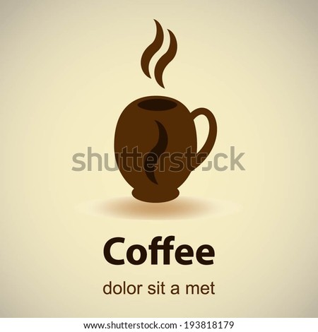 Coffee cup shape vector design template. Cafe emblem icon. Love coffee concept. - stock vector