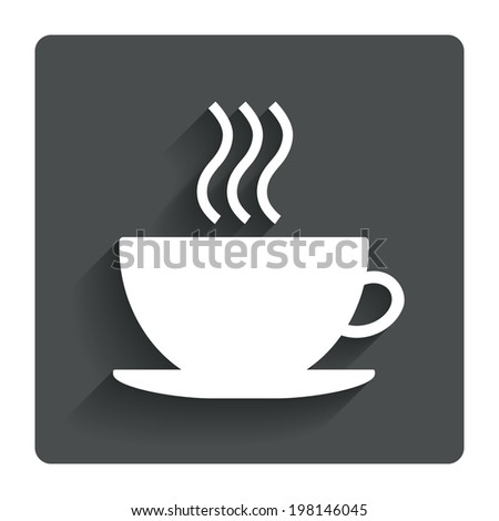 Coffee cup sign icon. Hot coffee button. Gray flat button with shadow. Modern UI website navigation. Vector - stock vector