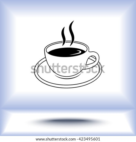 Coffee cup sign icon, vector illustration. Flat design style