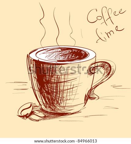 Coffee cup sketch vector illustration - stock vector