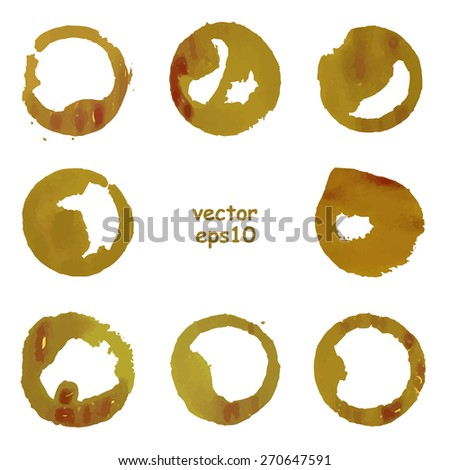 Coffee cup stains on the white background - Vector illustration. - stock vector