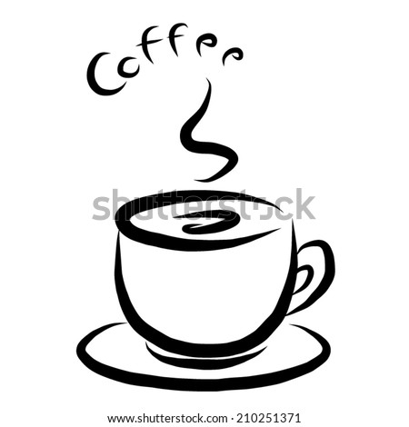 coffee cup symbol / cartoon vector and illustration, black and white, hand drawn, sketch style, isolated on white background. - stock vector