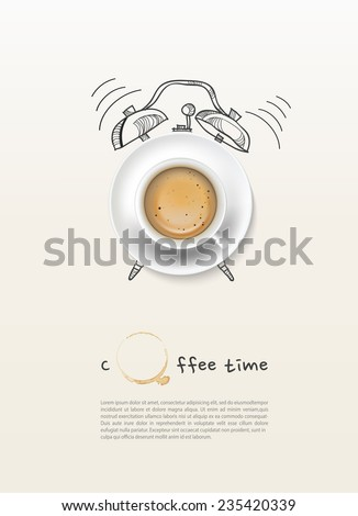 coffee cup time clock concept design background - stock vector