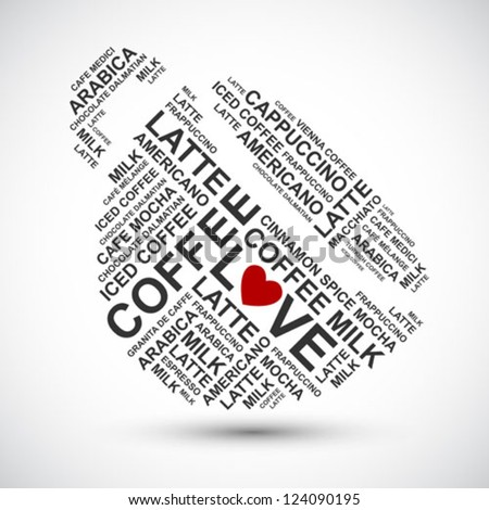 coffee cup typography words cloud - vector background - stock vector