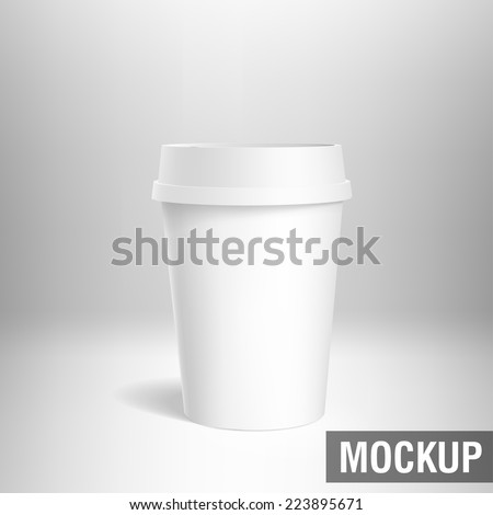coffee cup white mockup - stock vector