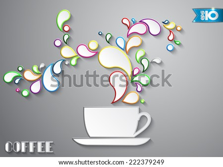 Coffee cup with color drops out of paper