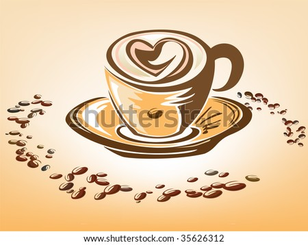 Coffee cup with heart - stock vector