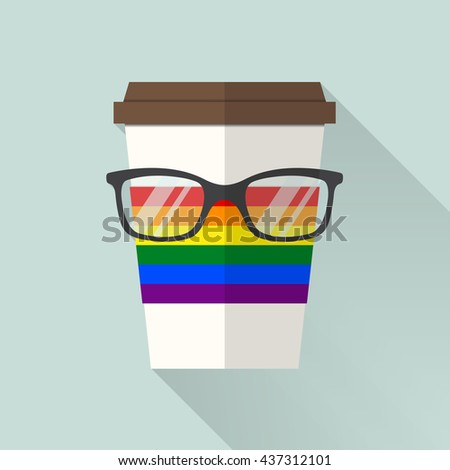 Coffee cup with LGBT flag,LGBT support symbol
