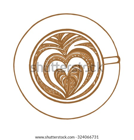 coffee cup with lovely love heart milk foam vector illustration - stock vector
