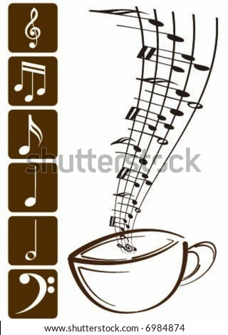 Coffee cup with musical smoke - stock vector